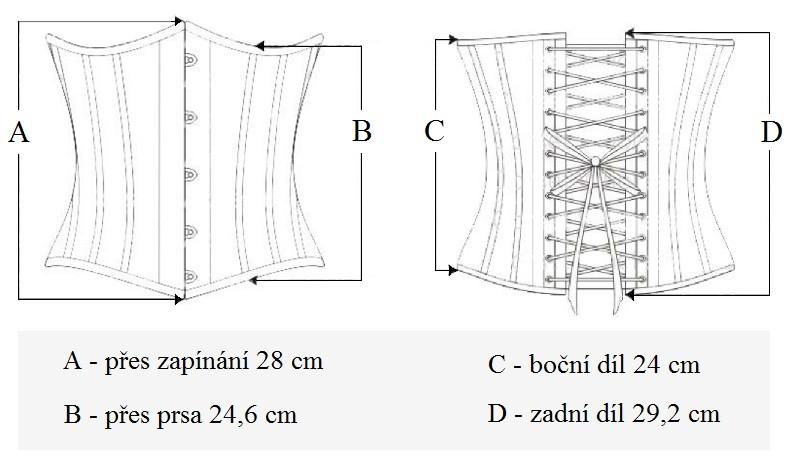 Popis: délky středně dlouhého pasového korzetu